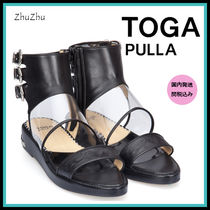 TOGA Open Toe Lace-up Casual Style Blended Fabrics Plain Leather
