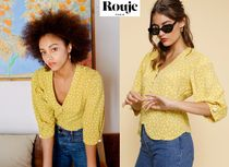 Rouje Dots Casual Style Puffed Sleeves V-Neck Bi-color