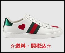 GUCCI Ace Stripes Heart Casual Style Blended Fabrics Low-Top Sneakers