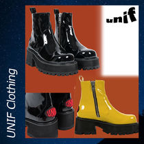UNIF Clothing Casual Style Street Style Block Heels Ankle & Booties Boots
