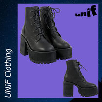 UNIF Clothing Rubber Sole Casual Style Street Style Plain Boots Boots