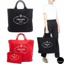 PRADA CANAPA Unisex Canvas A4 2WAY Bi-color Oversized Elegant Style Totes