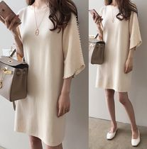 U-Neck Plain Medium Elegant Style Dresses