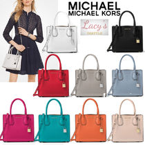 Michael Kors MERCER 2WAY Plain Leather Elegant Style Handbags