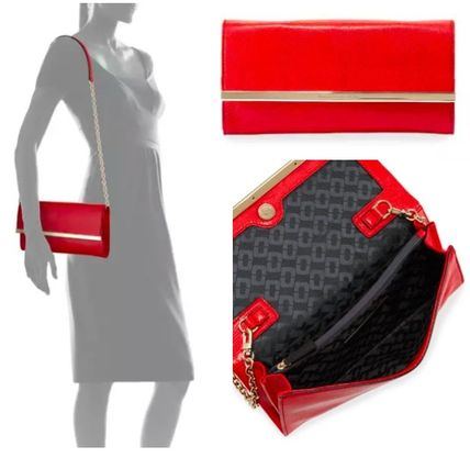 3WAY Plain Leather Party Style Clutches