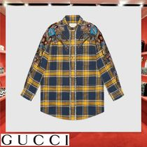 GUCCI Other Check Patterns Casual Style Long Sleeves Cotton Medium