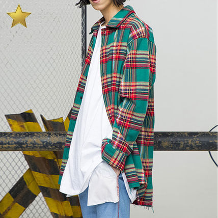 Tartan Other Check Patterns Street Style Long Sleeves