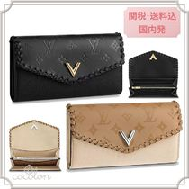 Louis Vuitton 18SS PORTEFEUILLE VERY BLACK MONOGRAM CARFSKIN /LONG WALLET