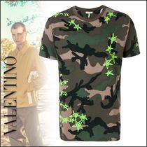 VALENTINO Star Camouflage Cotton Short Sleeves T-Shirts