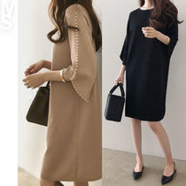 A-line U-Neck Plain Medium Elegant Style Dresses
