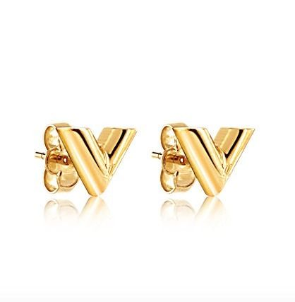 Louis Vuitton Earrings Piercings 18fw Essential V Stud Gold