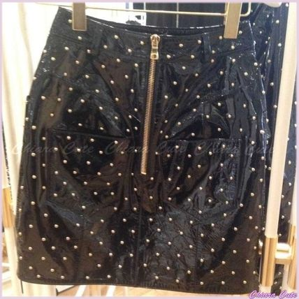 Short Dots Studded Leather Skirts