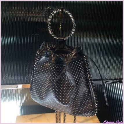 Dots Lambskin Studded 3WAY Chain Elegant Style Backpacks