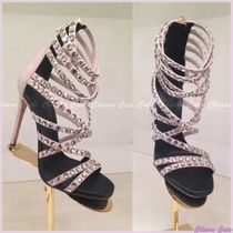PIERRE BALMAIN Open Toe Suede Plain Pin Heels Party Style With Jewels