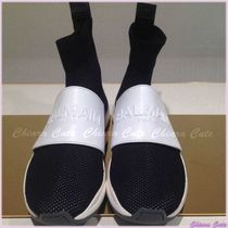 PIERRE BALMAIN Round Toe Rubber Sole Casual Style Blended Fabrics