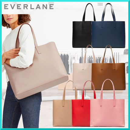Unisex Plain Leather Office Style Totes