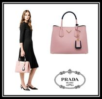 PRADA DOUBLE Saffiano A4 2WAY Bi-color Plain Elegant Style Handbags