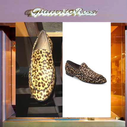 Leopard Patterns Plain Toe Loafers Loafers & Slip-ons