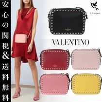 VALENTINO Casual Style Calfskin Studded Shoulder Bags