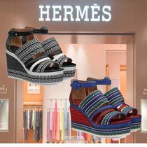 HERMES Open Toe Casual Style Platform & Wedge Sandals