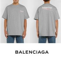 BALENCIAGA Street Style U-Neck Plain Cotton Short Sleeves Oversized