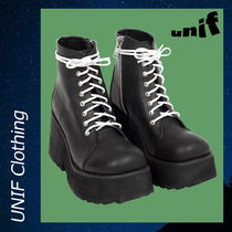 UNIF Clothing Platform Lace-up Casual Style Plain Lace-up Boots