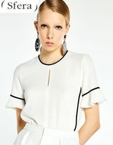 Sfera Crew Neck Cropped Plain Office Style Shirts & Blouses