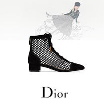 Christian Dior Lace-up Suede Block Heels Lace-up Boots