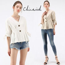 Chicwish Casual Style Peplum Linen Street Style Plain Short Sleeves