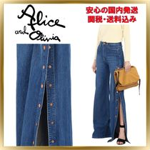 Alice+Olivia Plain Cotton Long Elegant Style Wide & Flared Jeans