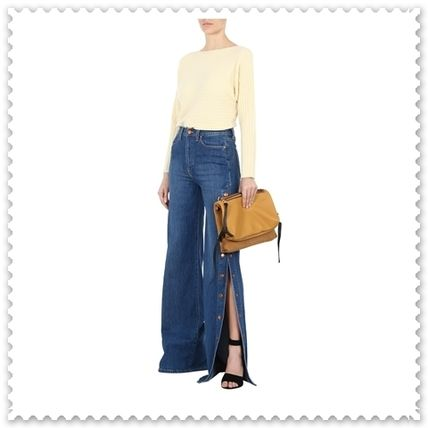 Alice+Olivia Plain Cotton Long Wide & Flared Jeans