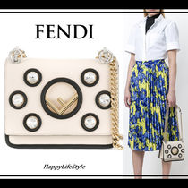 FENDI KAN I Chain Plain Leather With Jewels Elegant Style Shoulder Bags