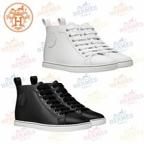 HERMES Plain Leather Low-Top Sneakers