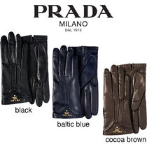 PRADA Leather Elegant Style Leather & Faux Leather Gloves