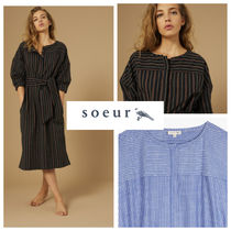 soeur Stripes Cropped Cotton Medium Dresses