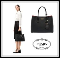PRADA DOUBLE Saffiano A4 2WAY Plain Elegant Style Handbags