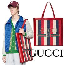 GUCCI Stripes Casual Style Unisex Canvas A4 Oversized Totes