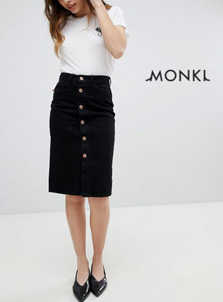 Casual Style Denim Medium Midi Skirts