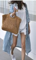 Stripes Casual Style Linen Street Style V-Neck Cropped Long