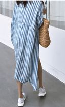 Stripes Casual Style Linen Street Style Cropped Long Gowns