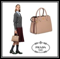 PRADA BIBLIOTHEQUE Saffiano 2WAY Plain Elegant Style Handbags