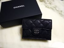 CHANEL MATELASSE Plain Leather Small Wallet Folding Wallets