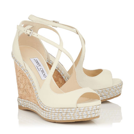 Jimmy Choo Plain Logo Platform & Wedge Sandals