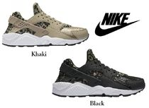 Nike AIR HUARACHE Leopard Patterns Rubber Sole Casual Style Street Style Plain