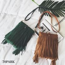 Casual Style Suede Plain Fringes Shoulder Bags