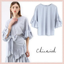 Chicwish Crew Neck Stripes Long Sleeves Cotton Medium Elegant Style