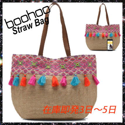 Tropical Patterns Blended Fabrics Tassel Straw Bags
