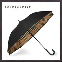 Burberry Other Check Patterns Unisex Leather Umbrellas & Rain Goods