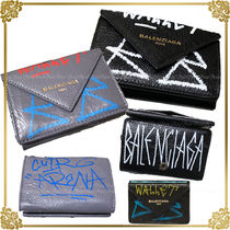 BALENCIAGA PAPIER A4 Unisex Leather Folding Wallets