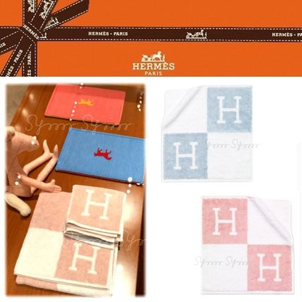 HERMES Monogram Unisex Cotton Handkerchief